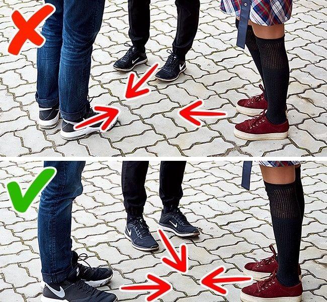 Обърнете внимание на посоката на краката