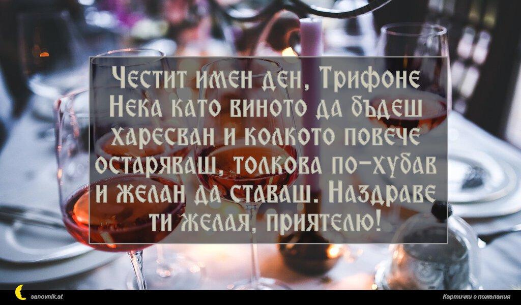 Честит имен ден, Трифоне Нека като виното да бъдеш харесван и колкото повече остаряваш, толкова по-хубав и желан да ставаш. Наздраве ти желая, приятелю!