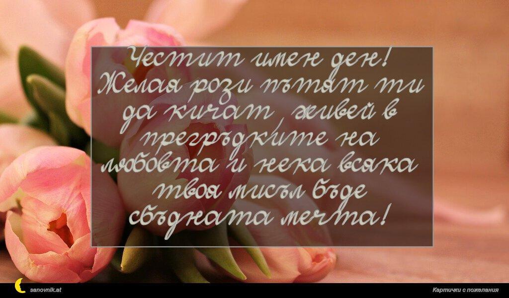 Честит имен ден! Желая рози пътят ти да кичат, живей в прегръдките на любовта и нека всяка твоя мисъл бъде сбъдната мечта!