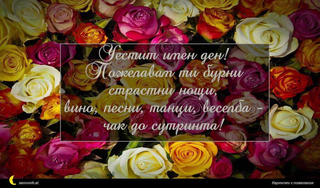 Честит имен ден! Пожелавам ти бурни страстни нощи, вино, песни, танци, веселба - чак до сутринта!