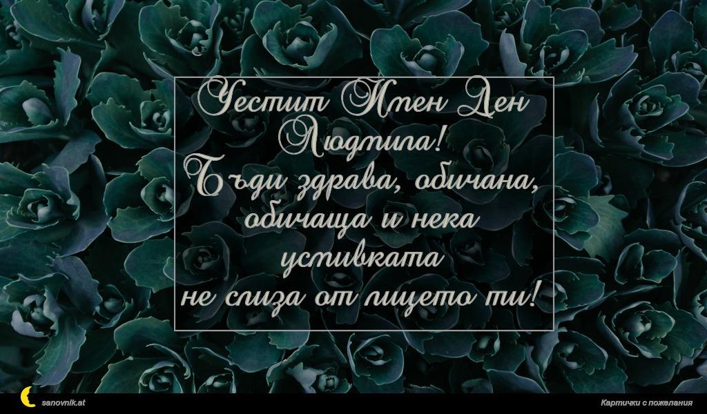 Честит Имен Ден Людмила! Бъди здрава, обичана, обичаща и нека усмивката не слиза от лицето ти!