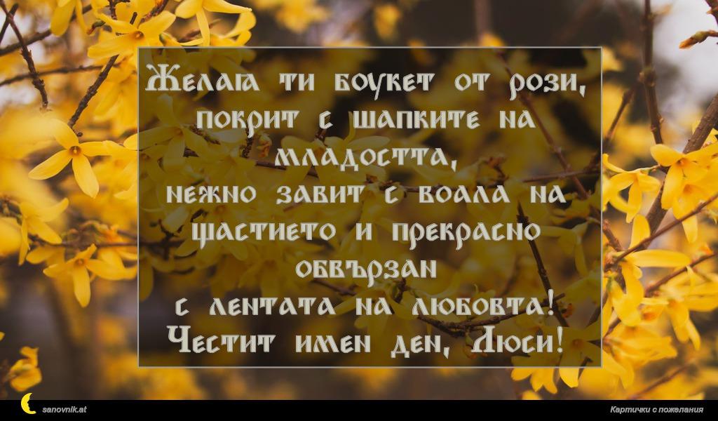 Желая ти букет от рози, покрит с шапките на младостта, нежно завит с воала на щастието и прекрасно обвързан с лентата на любовта! Честит имен ден, Люси!