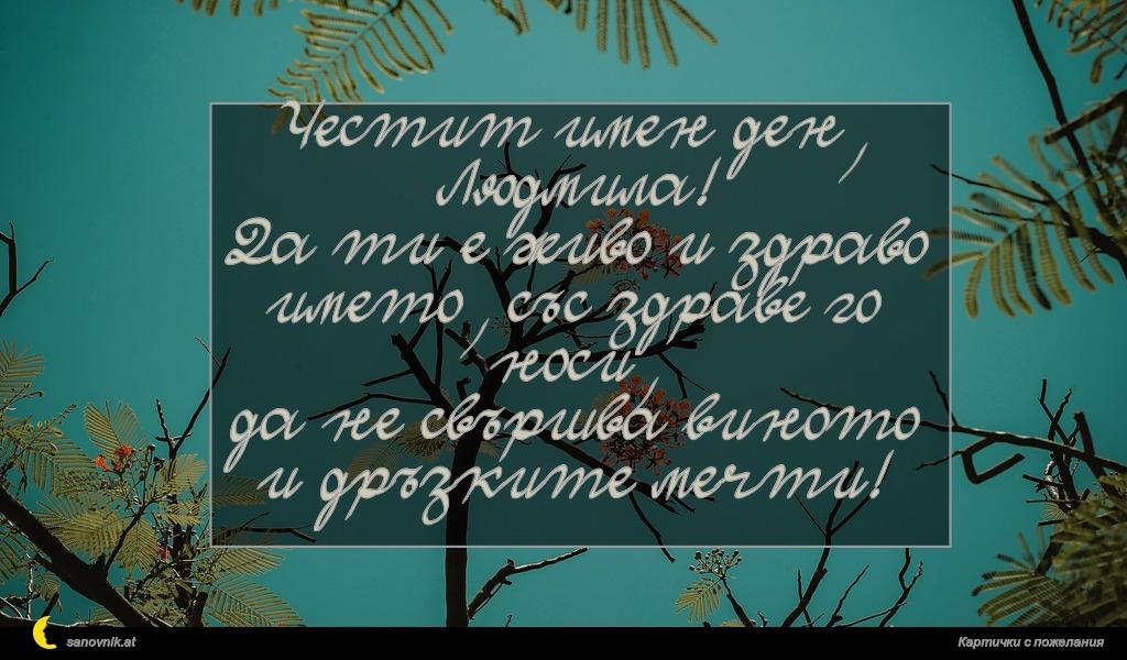 Честит имен ден, Людмила! Да ти е живо и здраво името, със здраве го носи, да не свършва виното и дръзките мечти!