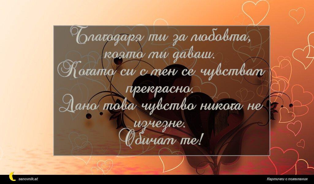 Благодаря ти за любовта, която ми даваш. Когато си с мен се чувствам прекрасно. Дано това чувство никога не изчезне. Обичам те!