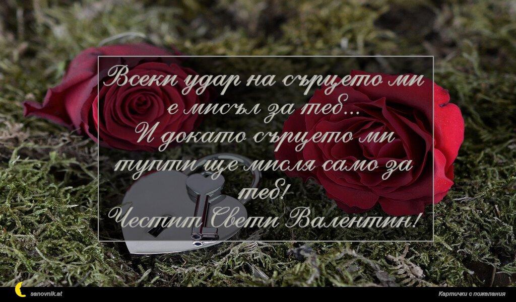 Всеки удар на сърцето ми е мисъл за теб... И докато сърцето ми тупти ще мисля само за теб! Честит Свети Валентин!