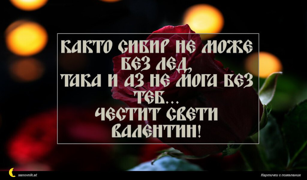 Както Сибир не може без лед, така и аз не мога без теб... Честит Свети Валентин!