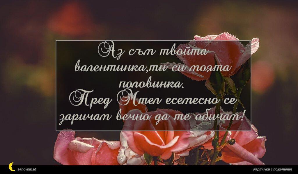 Аз съм твойта валентинка,ти си моята половинка. Пред Мтел есемесно се заричам вечно да те обичам!