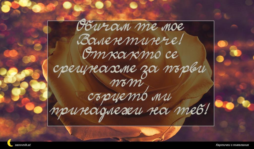 Обичам те мое Валентинче! Откакто се срещнахме за първи път, сърцето ми принадлежи на теб!