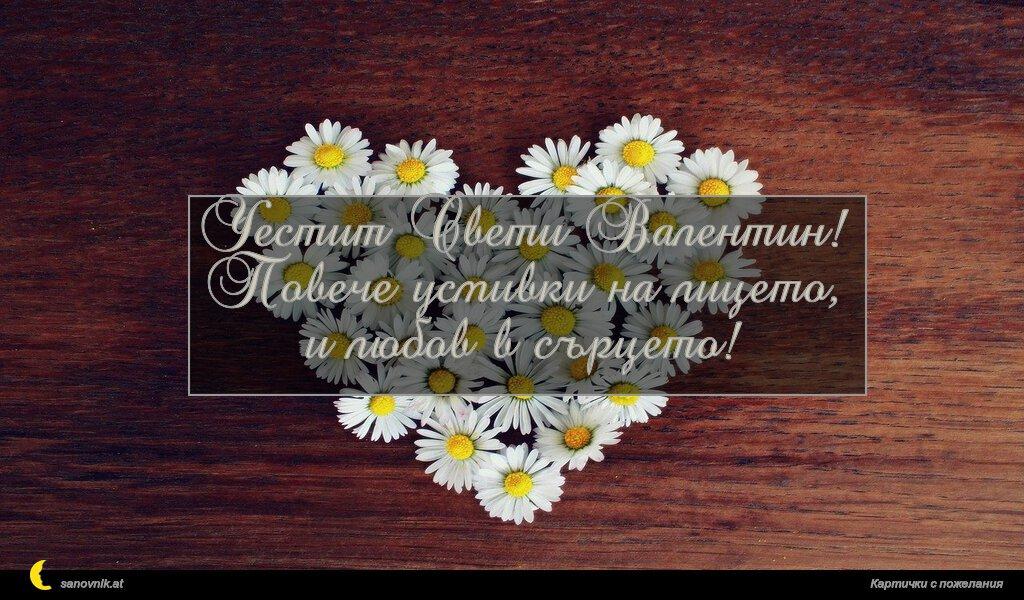 Честит Свети Валентин! Повече усмивки на лицето, и любов в сърцето!
