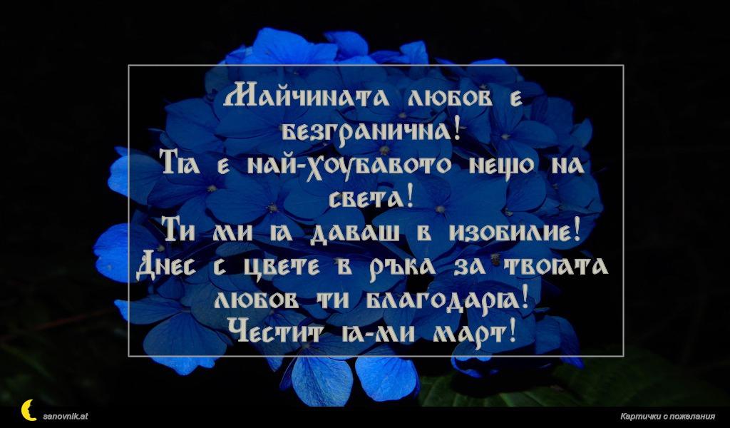Майчината любов е безгранична! Тя е най-хубавото нещо на света! Ти ми я даваш в изобилие! Днес с цвете в ръка за твоята любов ти благодаря! Честит 8-ми март!