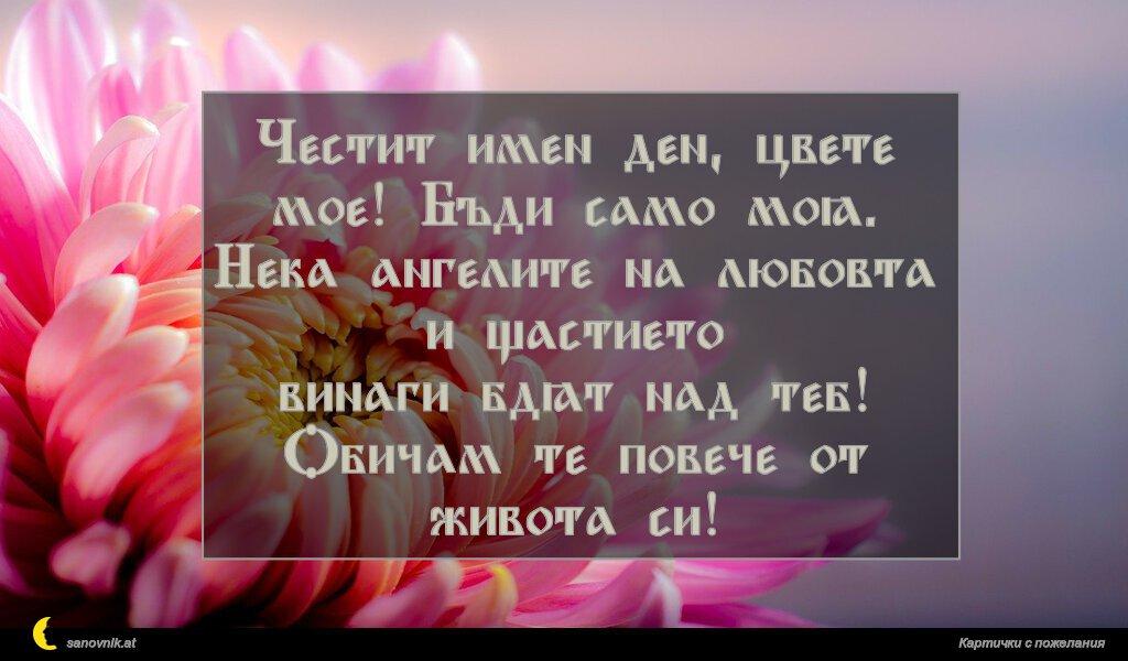 Честит имен ден, цвете мое! Бъди само моя. Нека ангелите на любовта и щастието винаги бдят над теб! Обичам те повече от живота си!