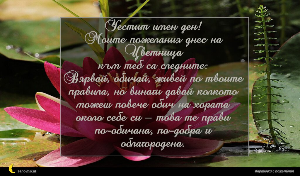 Честит имен ден! Моите пожелания днес на Цветница към теб са следните: Вярвай, обичай, живей по твоите правила, но винаги давай колкото можеш повече обич на хората около себе си – това те прави по-обичана, по-добра и облагородена.