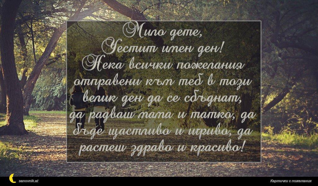 Мило дете, Честит имен ден! Нека всички пожелания отправени към теб в този велик ден да се сбъднат, да радваш мама и татко, да бъде щастливо и игриво, да растеш здраво и красиво!