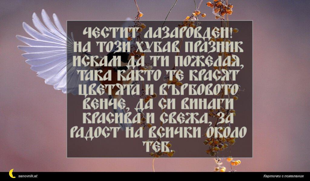 Честит Лазаровден! На този хубав празник искам да ти пожелая, така както те красят цветята и върбовото венче, да си винаги красива и свежа, за радост на всички около теб.