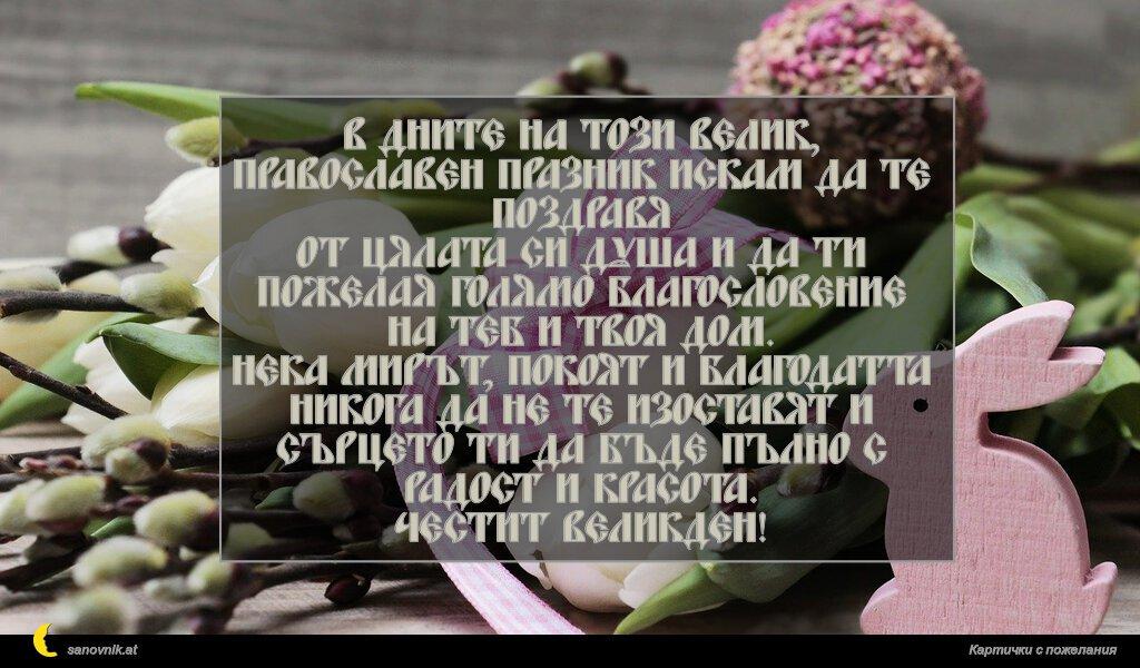 В дните на този велик, православен празник искам да те поздравя от цялата си душа и да ти пожелая голямо благословение на теб и твоя дом. Нека мирът, покоят и благодатта никога да не те изоставят и сърцето ти да бъде пълно с радост и красота. Честит Великден!