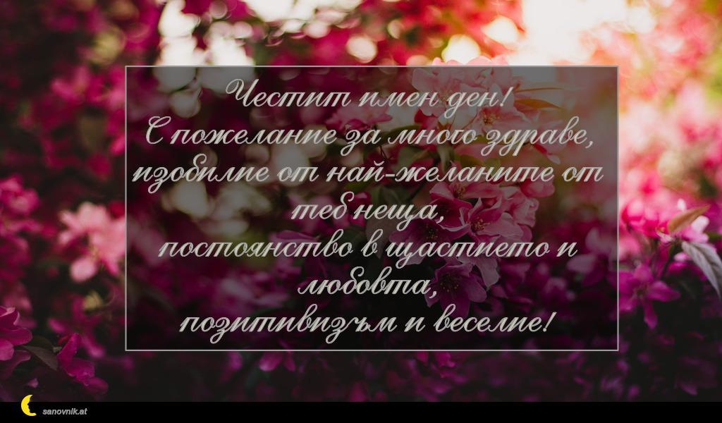 Честит имен ден! С пожелание за много здраве, изобилие от най-желаните от теб неща, постоянство в щастието и любовта, позитивизъм и веселие!