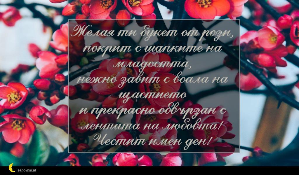 Желая ти букет от рози, покрит с шапките на младостта, нежно завит с воала на щастието и прекрасно обвързан с лентата на любовта! Честит имен ден!
