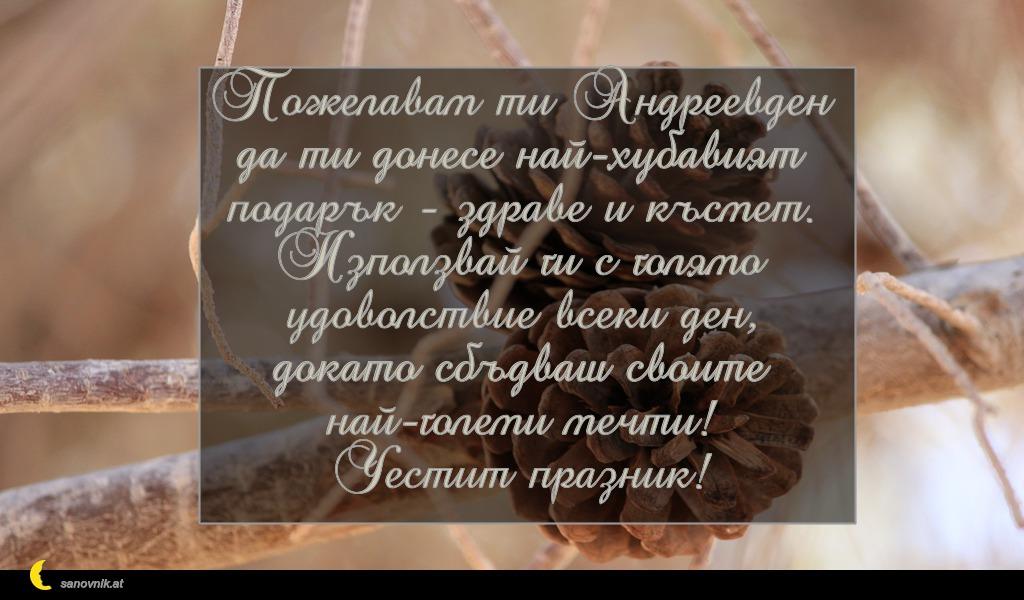 Пожелавам ти Андреевден да ти донесе най-хубавият подарък - здраве и късмет. Използвай ги с голямо удоволствие всеки ден, докато сбъдваш своите най-големи мечти! Честит празник!