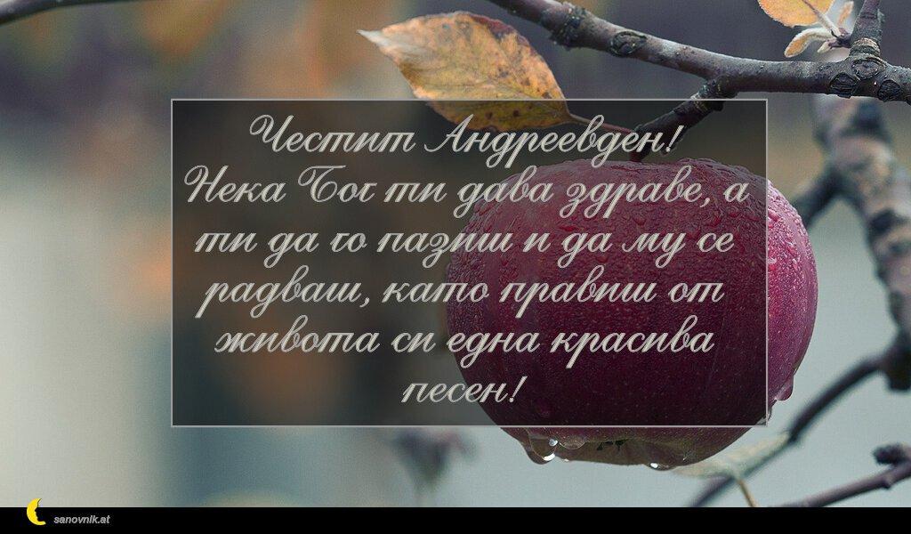 Честит Андреевден! Нека Бог ти дава здраве, а ти да го пазиш и да му се радваш, като правиш от живота си една красива песен!