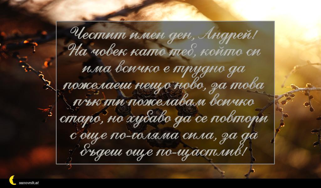 Честит имен ден, Андрей! На човек като теб, който си има всичко е трудно да пожелаеш нещо ново, за това пък ти пожелавам всичко старо, но хубаво да се повтори с още по-голяма сила, за да бъдеш още по-щастлив!