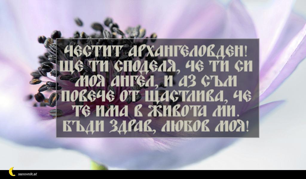 Честит Архангеловден! Ще ти споделя, че ти си моя ангел, и аз съм повече от щастлива, че те има в живота ми. Бъди здрав, любов моя!