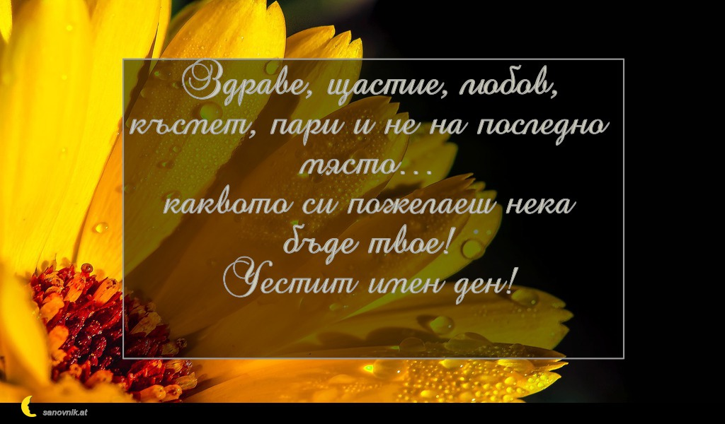 Здраве, щастие, любов, късмет, пари и не на последно място… каквото си пожелаеш нека бъде твое! Честит имен ден!