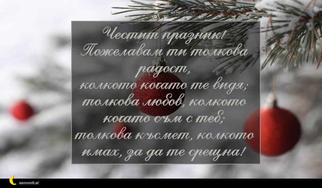 Честит празник! Пожелавам ти толкова радост, колкото когато те видя; толкова любов, колкото когато съм с теб; толкова късмет, колкото имах, за да те срещна!
