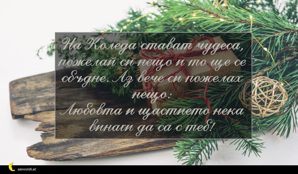 На Коледа стават чудеса, пожелай си нещо и то ще се сбъдне. Аз вече си пожелах нещо: Любовта и щастието нека винаги да са с теб!