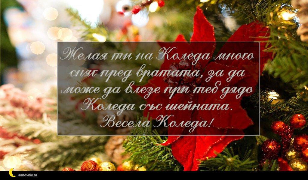 Желая ти на Коледа много сняг пред вратата, за да може да влезе при теб дядо Коледа със шейната. Весела Коледа!
