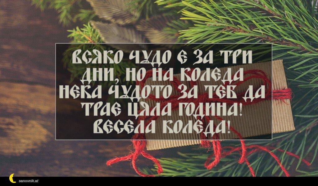 Всяко чудо е за три дни, но на Коледа нека чудото за теб да трае цяла година! Весела Коледа!
