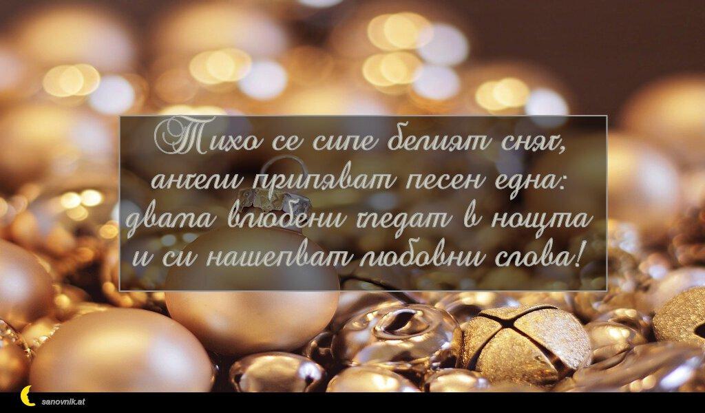 Тихо се сипе белият сняг, ангели припяват песен една: двама влюбени гледат в нощта и си нашепват любовни слова!
