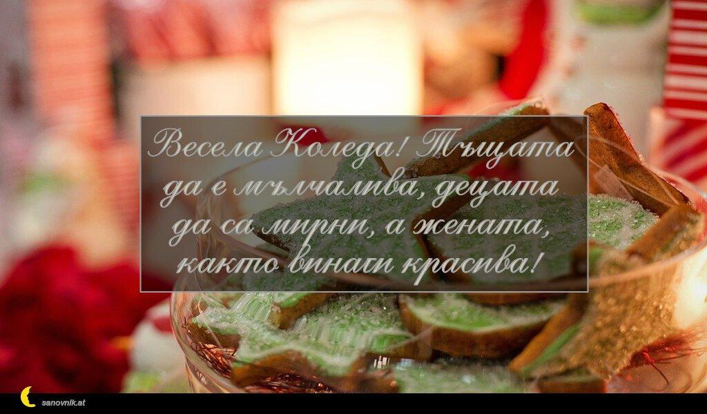 Весела Коледа! Тъщата да е мълчалива, децата да са мирни, а жената, както винаги красива!
