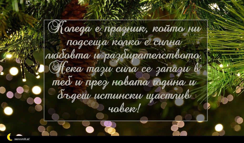 Коледа е празник, който ни подсеща колко е силна любовта и разбирателството. Нека тази сила се запази в теб и през новата година и бъдеш истински щастлив човек!