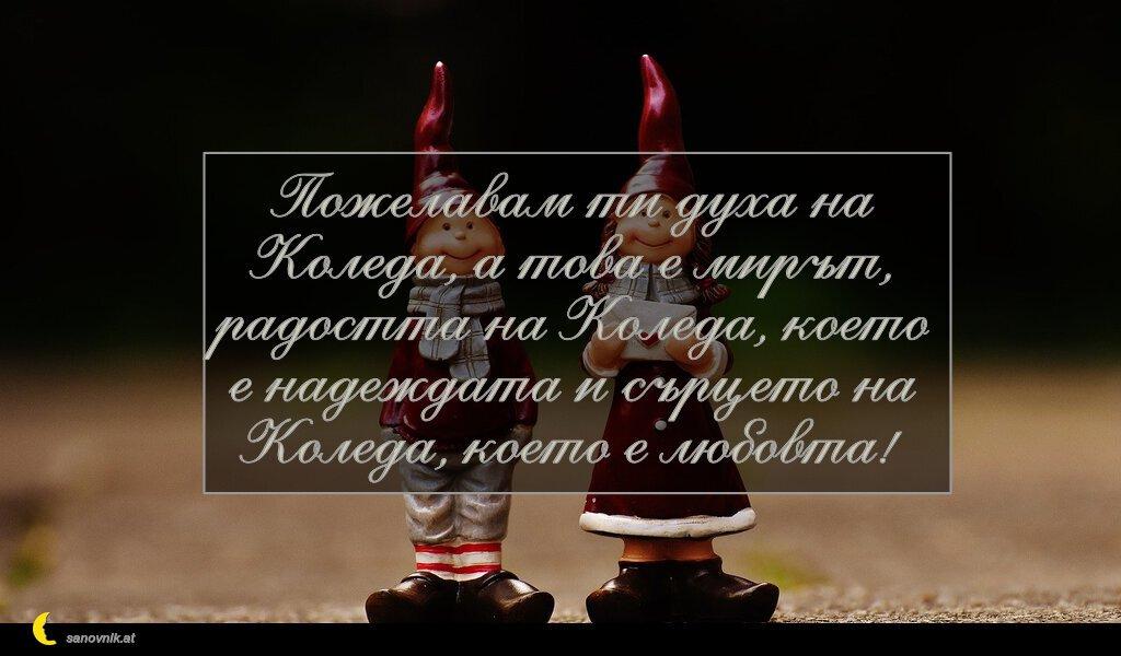 Пожелавам ти духа на Коледа, а това е мирът, радостта на Коледа, което е надеждата и сърцето на Коледа, което е любовта!