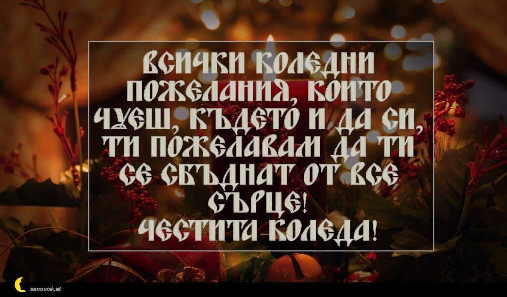 Всички коледни пожелания, които чуеш, където и да си, ти пожелавам да ти се сбъднат от все сърце! Честита Коледа!