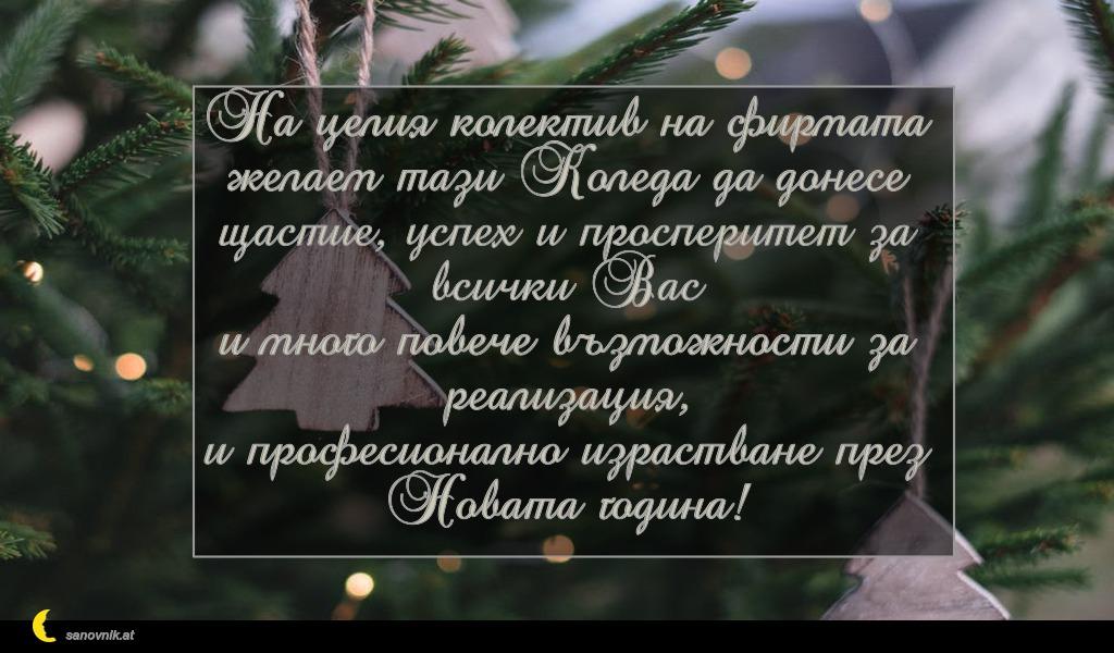На целия колектив на фирмата желаем тази Коледа да донесе щастие, успех и просперитет за всички Вас и много повече възможности за реализация, и професионално израстване през Новата година!