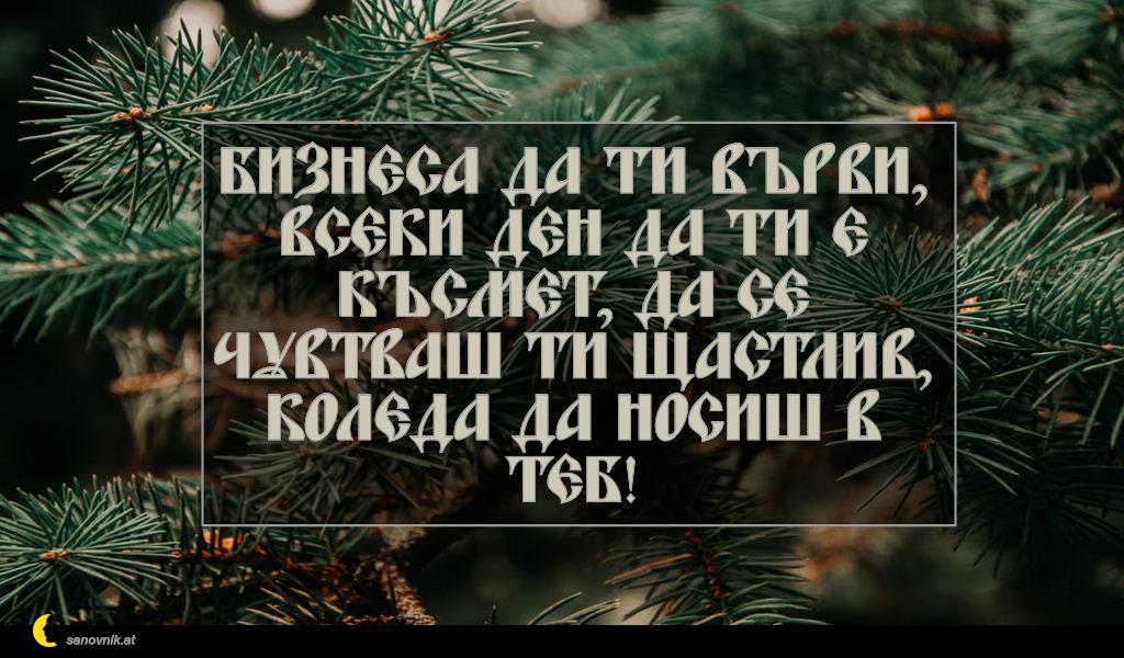Бизнеса да ти върви, всеки ден да ти е късмет, да се чувтваш ти щастлив, Коледа да носиш в теб!