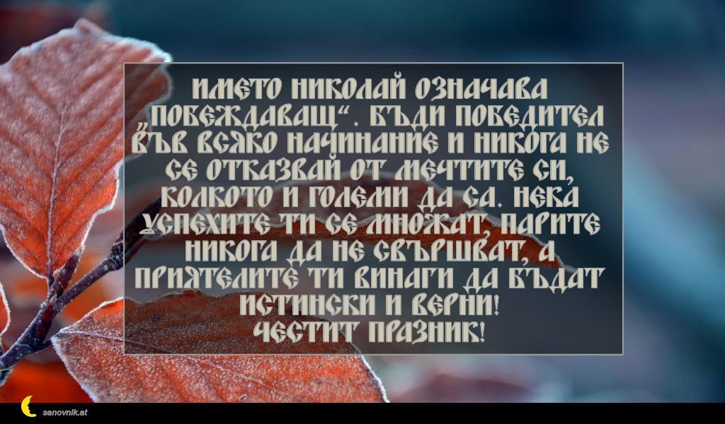 """Името Николай означава """"побеждаващ"""". Бъди победител във всяко начинание и никога не се отказвай от мечтите си, колкото и големи да са. Нека успехите ти се множат, парите никога да не свършват, а приятелите ти винаги да бъдат истински и верни! Честит празник!"""
