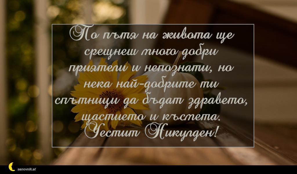По пътя на живота ще срещнеш много добри приятели и непознати, но нека най-добрите ти спътници да бъдат здравето, щастието и късмета. Честит Никулден!