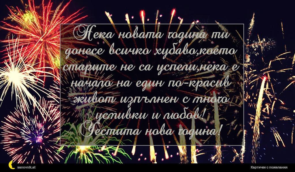 Нека новата година ти донесе всичко хубаво,което старите не са успели,нека е начало на един по-красив живот изпълнен с много усмивки и любов! Честита нова година!