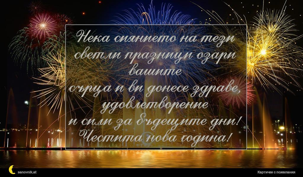 Нека сиянието на тези светли празници озари вашите сърца и ви донесе здраве, удовлетворение и сили за бъдещите дни! Честита нова година!