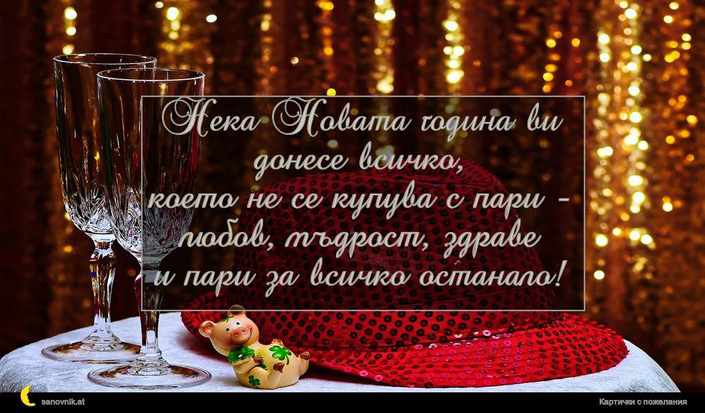 Нека Новата година ви донесе всичко, което не се купува с пари - любов, мъдрост, здраве и пари за всичко останало!