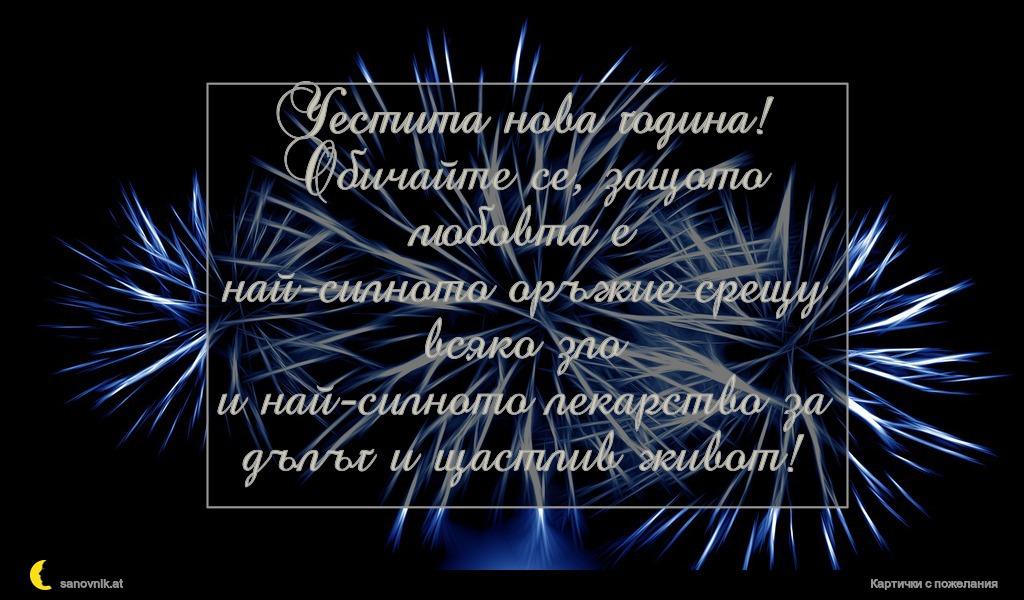 Честита нова година! Обичайте се, защото любовта е най-силното оръжие срещу всяко зло и най-силното лекарство за дълъг и щастлив живот!