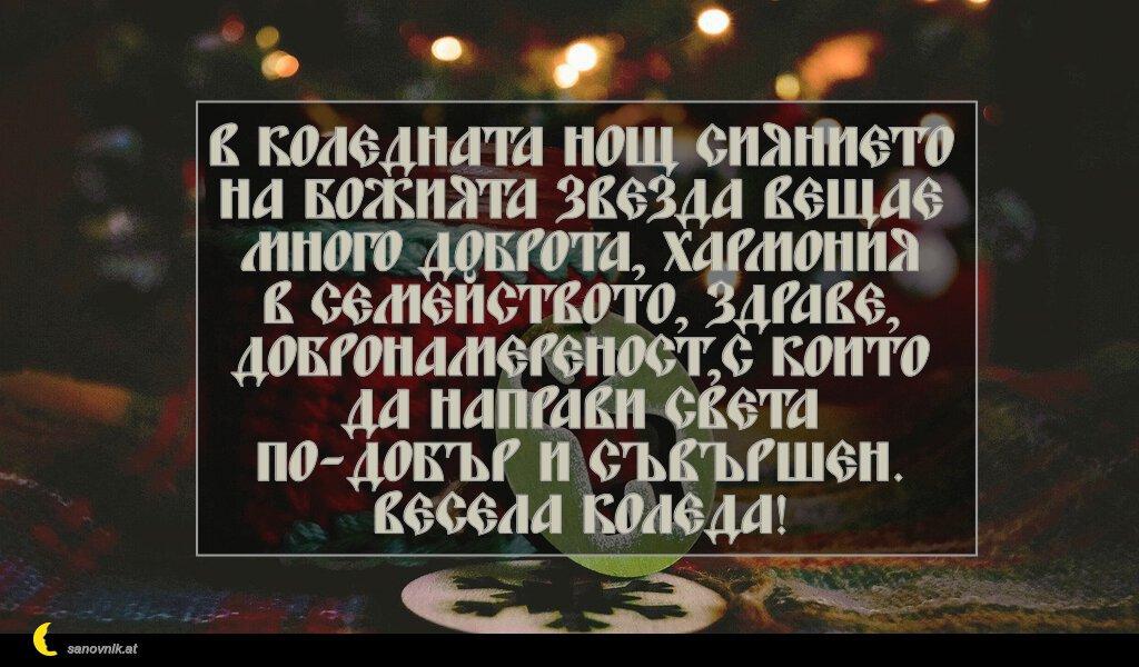 В коледната нощ сиянието на Божията звезда вещае много доброта, хармония в семейството, здраве, добронамереност,с които да направи света по-добър и съвършен. Весела Коледа!