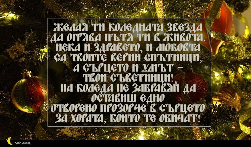 Желая ти Коледната звезда да огрява пътя ти в живота. Нека и здравето, и любовта са твоите верни спътници, а сърцето и умът – твои съветници! На Коледа не забравяй да оставиш едно отворено прозорче в сърцето за хората, които те обичат!
