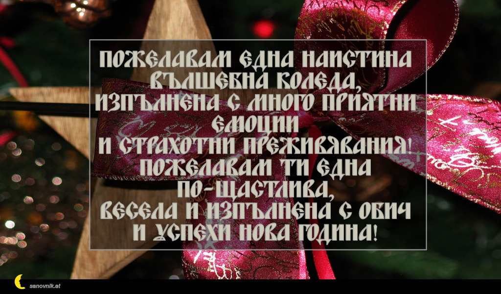 Пожелавам една наистина Вълшебна Коледа, изпълнена с много приятни емоции и страхотни преживявания! Пожелавам ти една по-щастлива, весела и изпълнена с обич и успехи Нова година!