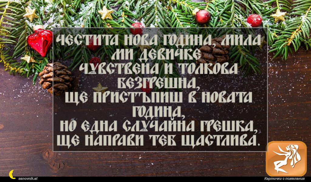 Честита Нова година, мила ми Девичке Чувствена и толкова безгрешна, ще пристъпиш в Новата година, но една случайна грешка, ще направи теб щастлива.