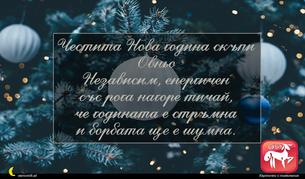 Честита Нова година скъпи Овньо Независим, енергичен със рога нагоре тичай, че годината е стръмна и борбата ще е шумна.