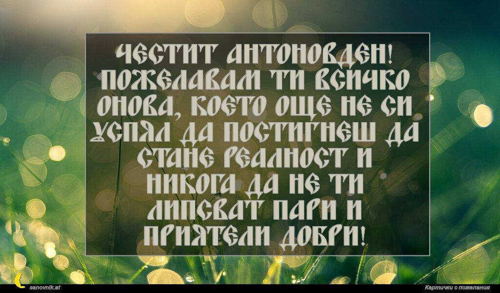 Честит Антоновден! Пожелавам ти всичко онова, което още не си успял да постигнеш да стане реалност и никога да не ти липсват пари и приятели добри!