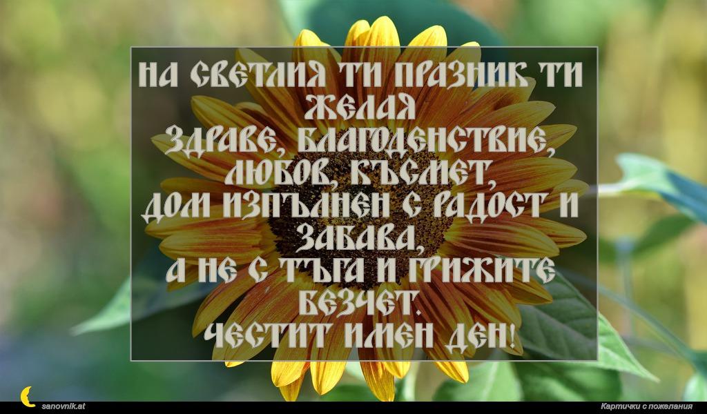 На светлия ти празник ти желая здраве, благоденствие, любов, късмет, дом изпълнен с радост и забава, а не с тъга и грижите безчет. Честит имен ден!